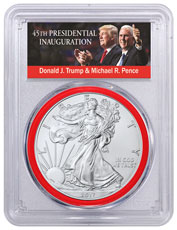 2017 American Silver Eagle PCGS MS70 FS 1 of 5,000 (Red Gasket - Exclusive Trump & Pence Label)