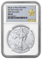 2017-(W) Silver Eagle Struck at West Point NGC MS69 FR (West Point Gold Star Label)