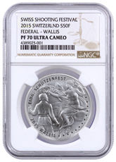 2015 Switzerland Shooting Festival Thaler - Wallis Silver Proof Fr.50 NGC PF70 UC