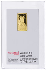 Credit Suisse Statue of Liberty 1 g Gold Bar In Assay