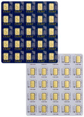 Sheet of 25 - PAMP Fortuna Snap Off 1 g Gold Bars In Assay