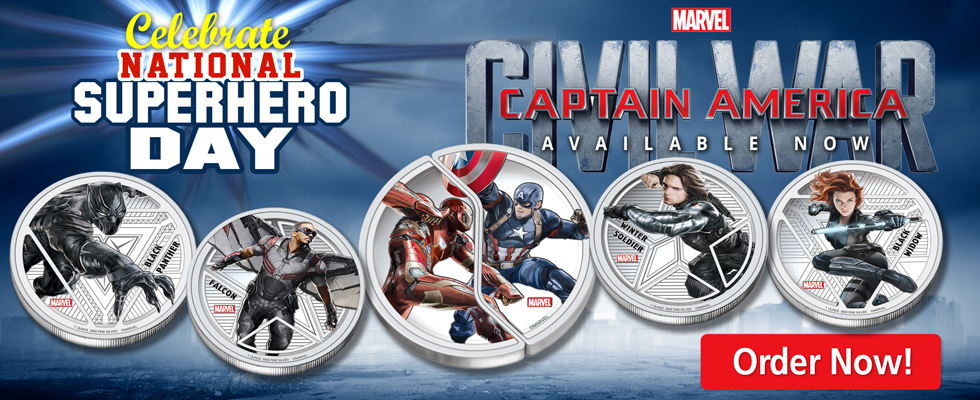 Celebrate national Superhero Day with the New Captain America Civil War Coins!