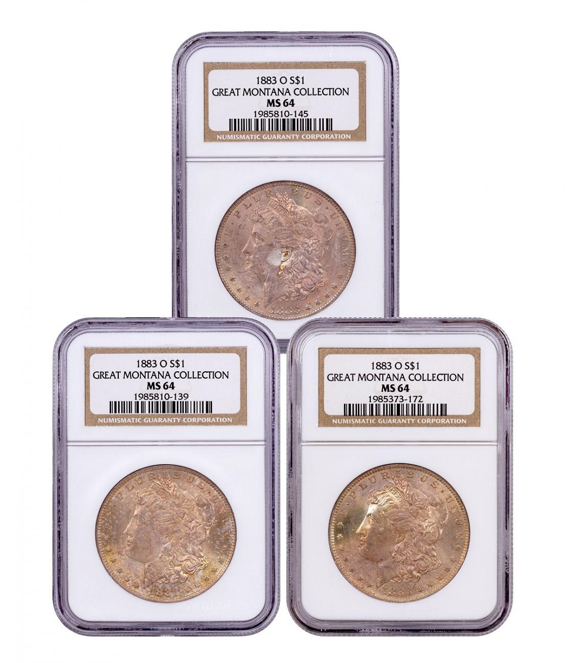 3-Coin Set - 1883-O Morgan Silver Dollar From the Great Montana Collection NGC MS64 Toned CPCR 0145