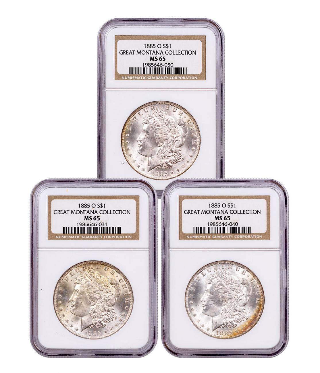 3-Coin Set - 1885-O Morgan Silver Dollar From the Great Montana Collection NGC MS65 Toned CPCR 6050
