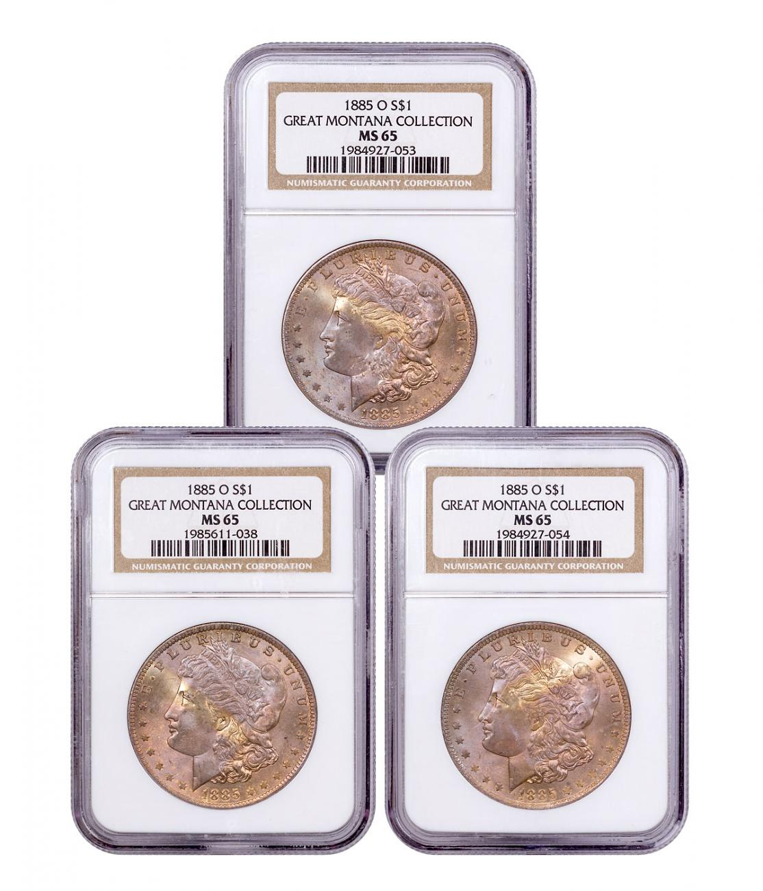 3-Coin Set - 1885-O Morgan Silver Dollar From the Great Montana Collection NGC MS65 Toned CPCR 7053
