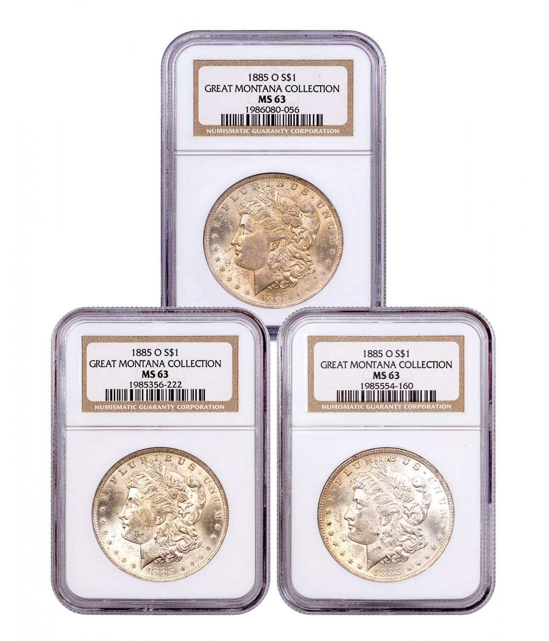 3-Coin Set - 1885-O Morgan Silver Dollar From the Great Montana Collection NGC MS63 Toned CPCR 0056