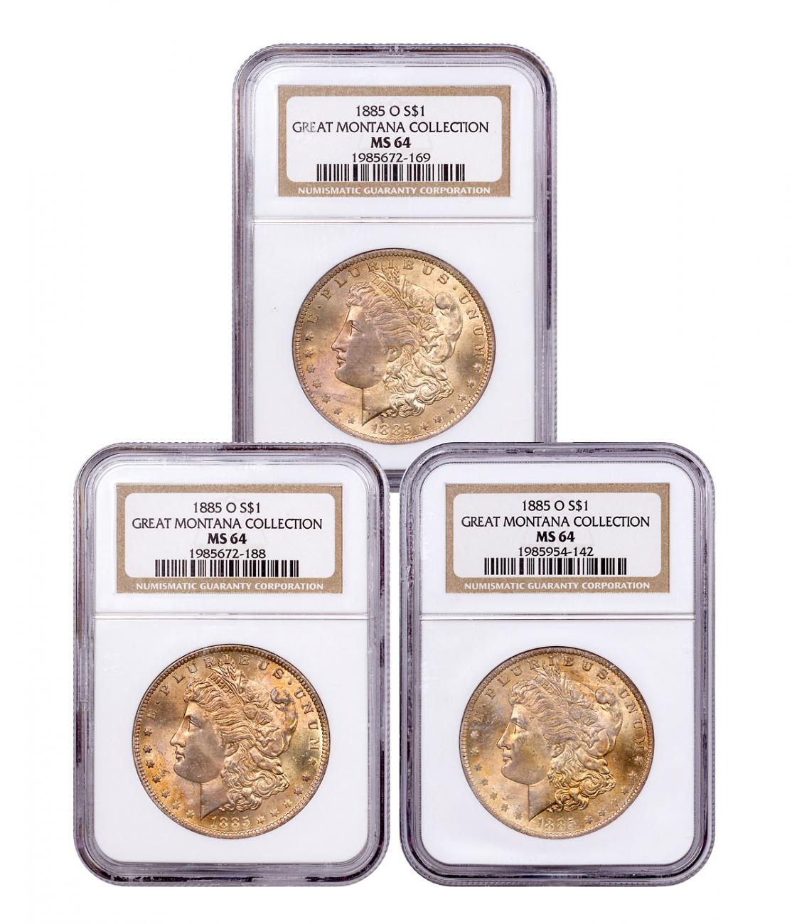 3-Coin Set - 1885-O Morgan Silver Dollar From the Great Montana Collection NGC MS64 Toned CPCR 2169