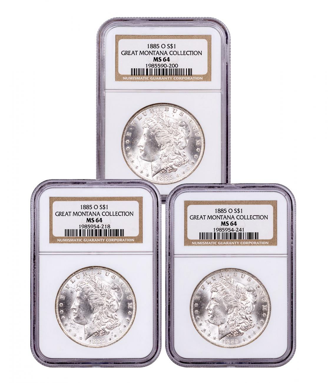 3-Coin Set - 1885-O Morgan Silver Dollar From the Great Montana Collection NGC MS64 Toned CPCR 0200
