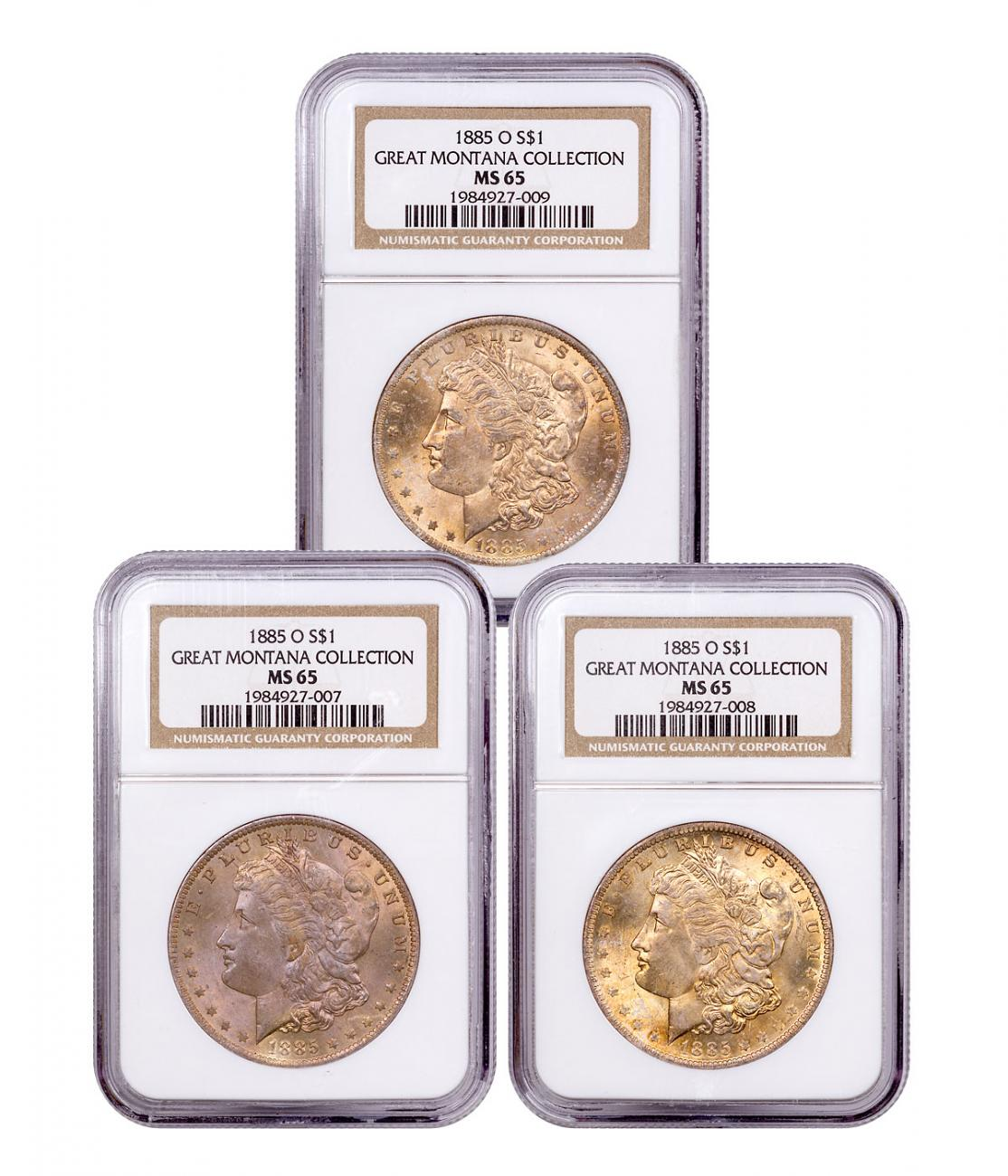 3-Coin Set - 1885-O Morgan Silver Dollar From the Great Montana Collection NGC MS65 Toned CPCR 7009
