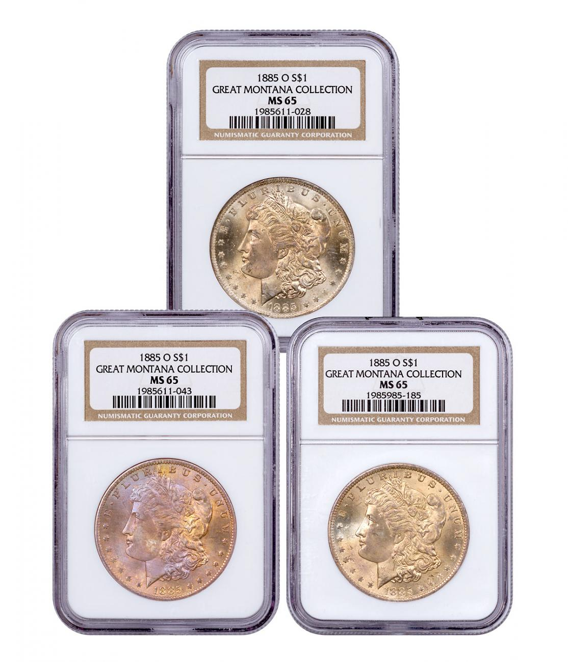 3-Coin Set - 1885-O Morgan Silver Dollar From the Great Montana Collection NGC MS65 Toned CPCR 1028
