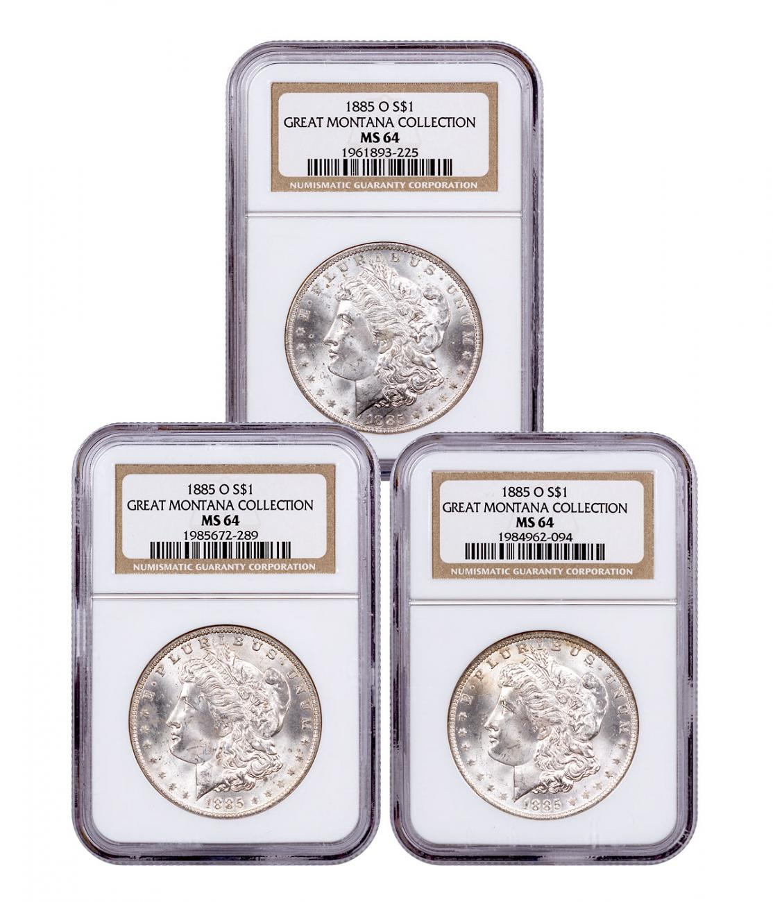 3-Coin Set - 1885-O Morgan Silver Dollar From the Great Montana Collection NGC MS64 Toned CPCR 3225