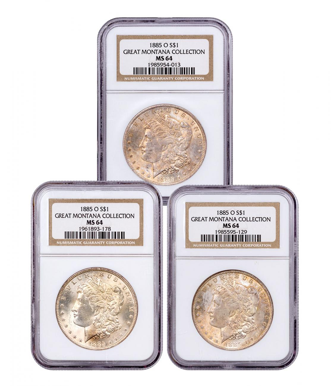 3-Coin Set - 1885-O Morgan Silver Dollar From the Great Montana Collection NGC MS64 Toned CPCR 4013