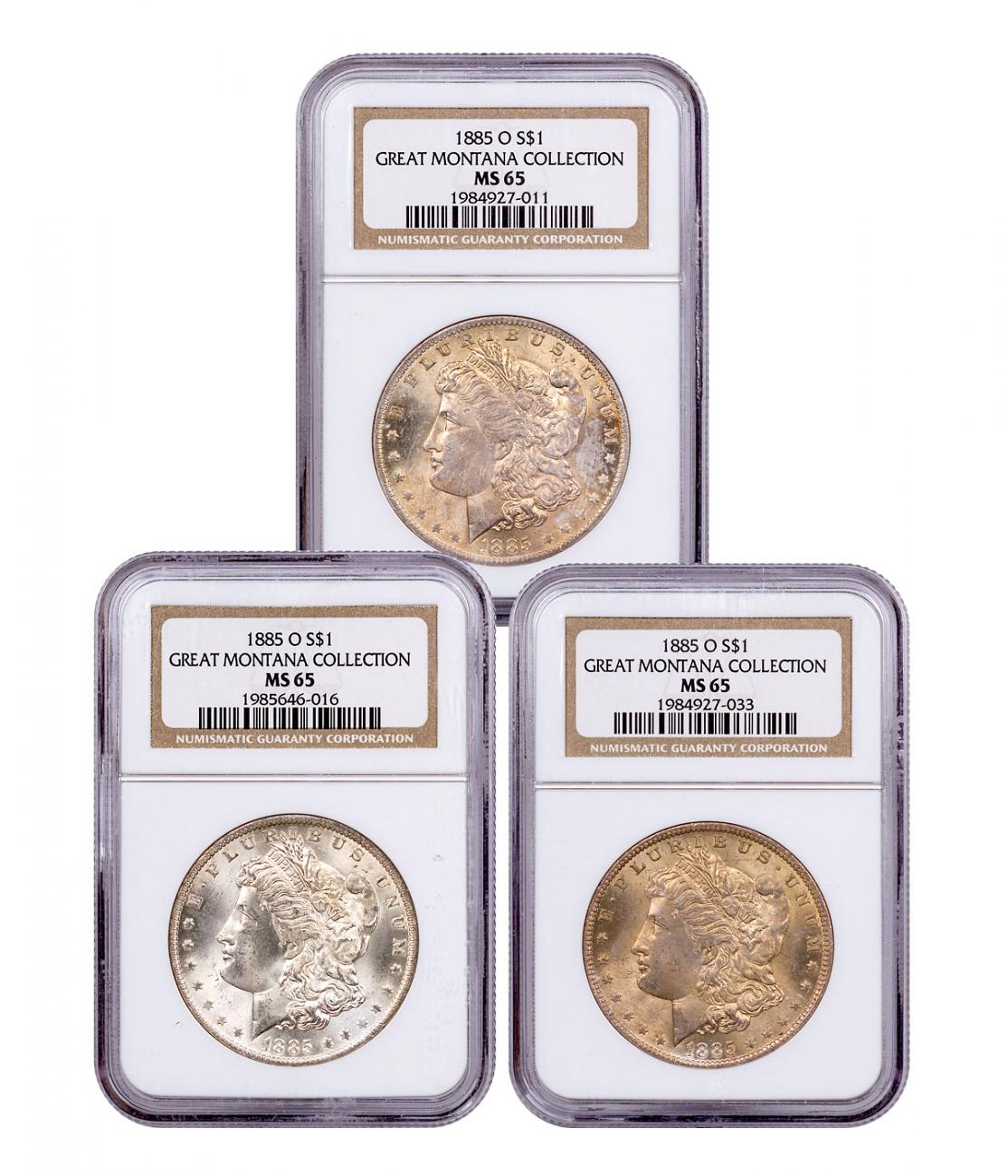 3-Coin Set - 1885-O Morgan Silver Dollar From the Great Montana Collection NGC MS65 Toned CPCR 7011