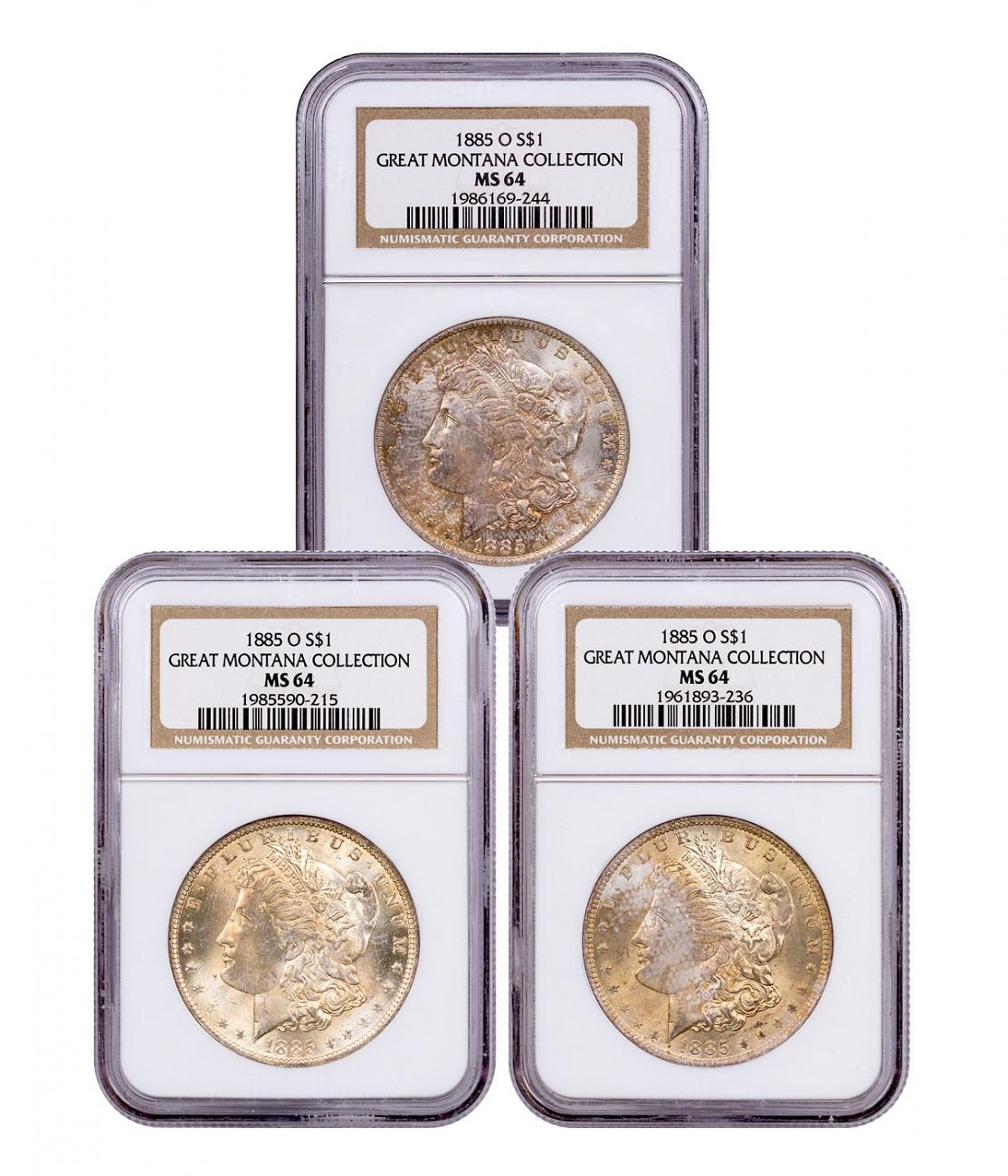 3-Coin Set - 1885-O Morgan Silver Dollar From the Great Montana Collection NGC MS64 Toned CPCR 9244