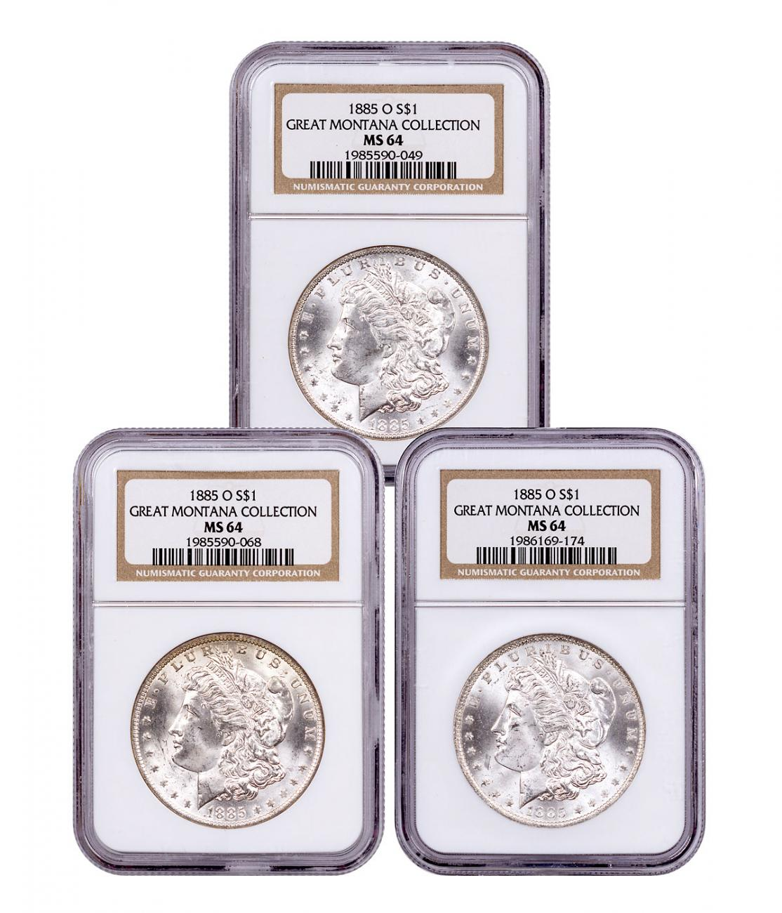 3-Coin Set - 1885-O Silver Morgan Dollar From the Great Montana Collection NGC MS64 Toned