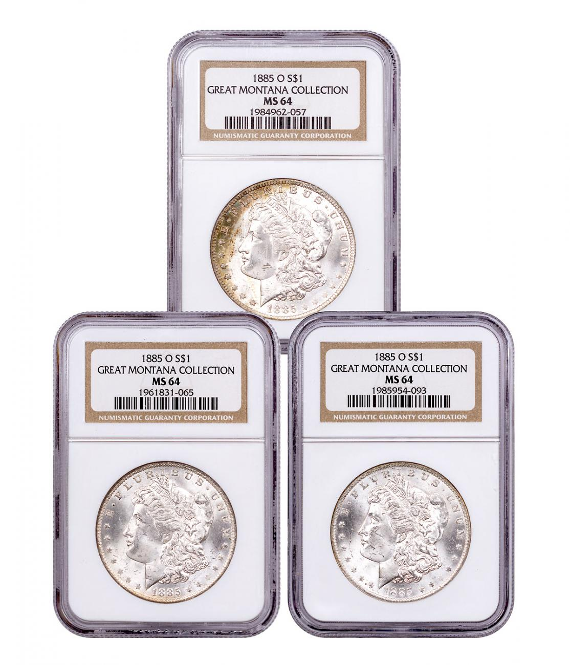 3-Coin Set - 1885-O Morgan Silver Dollar From the Great Montana Collection NGC MS64 Toned CPCR 2057