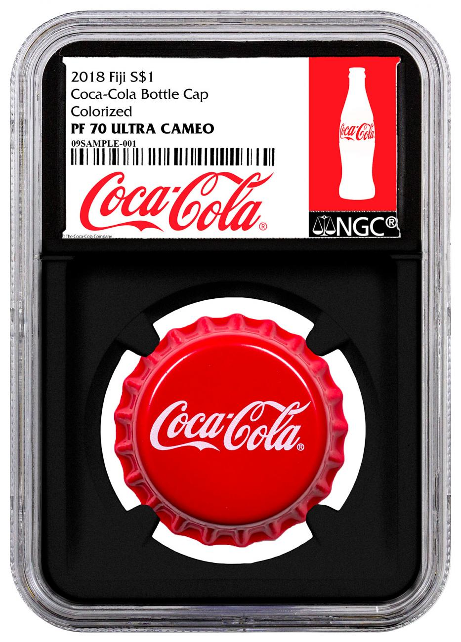2018 Fiji Coca-Cola Bottle Cap-Shaped 6 g Silver Colorized Proof $1 Coin NGC PF70 UC Black Core Holder Exclusive Coca-Cola Label