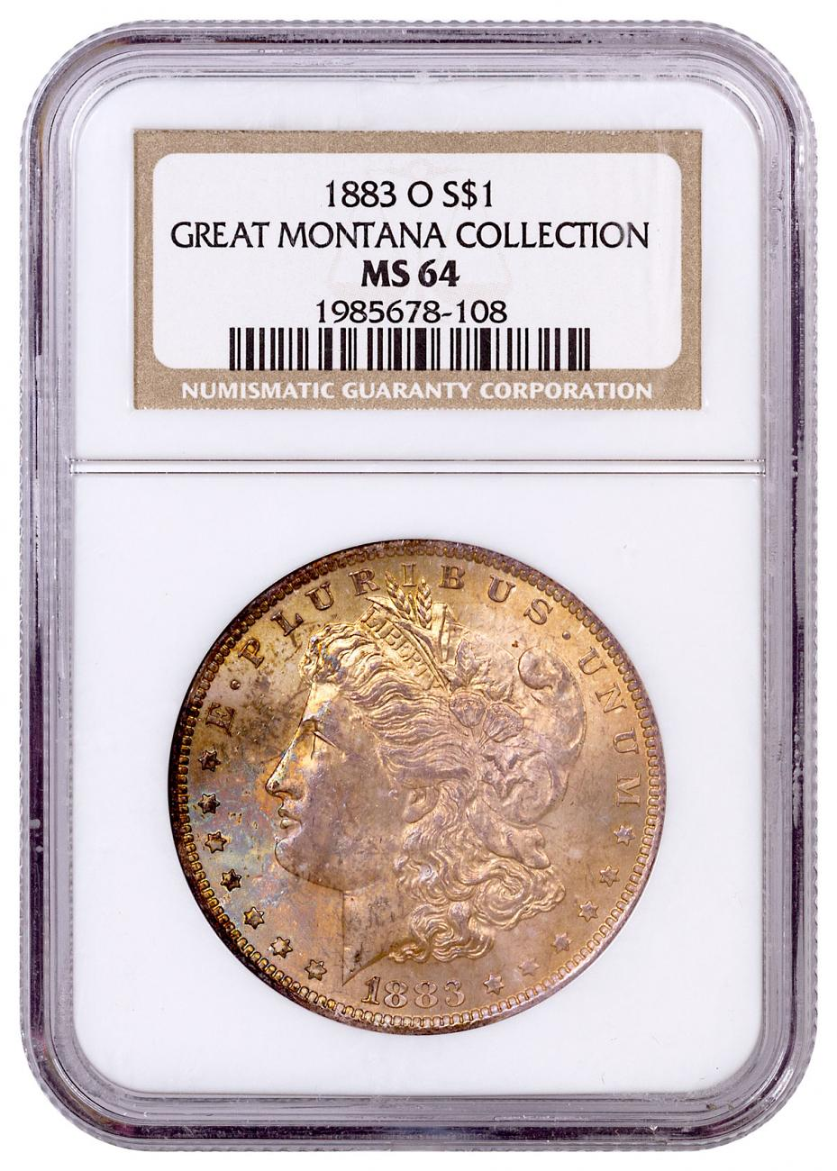 1883-O Morgan Silver Dollar From the Great Montana Collection NGC MS64 Toned CPCR 8108