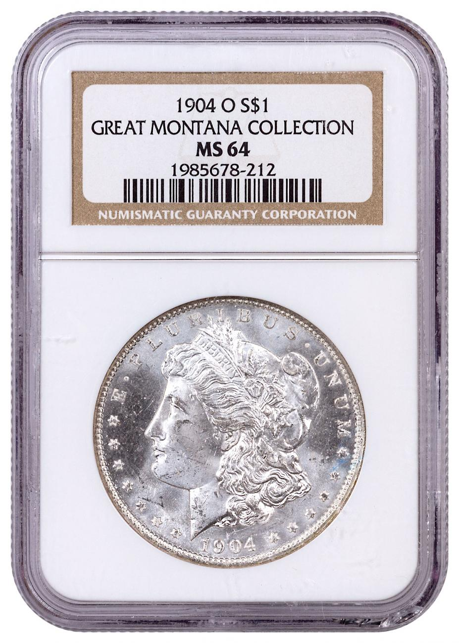 1904-O Morgan Silver Dollar From the Great Montana Collection NGC MS64 Toned CPCR 212