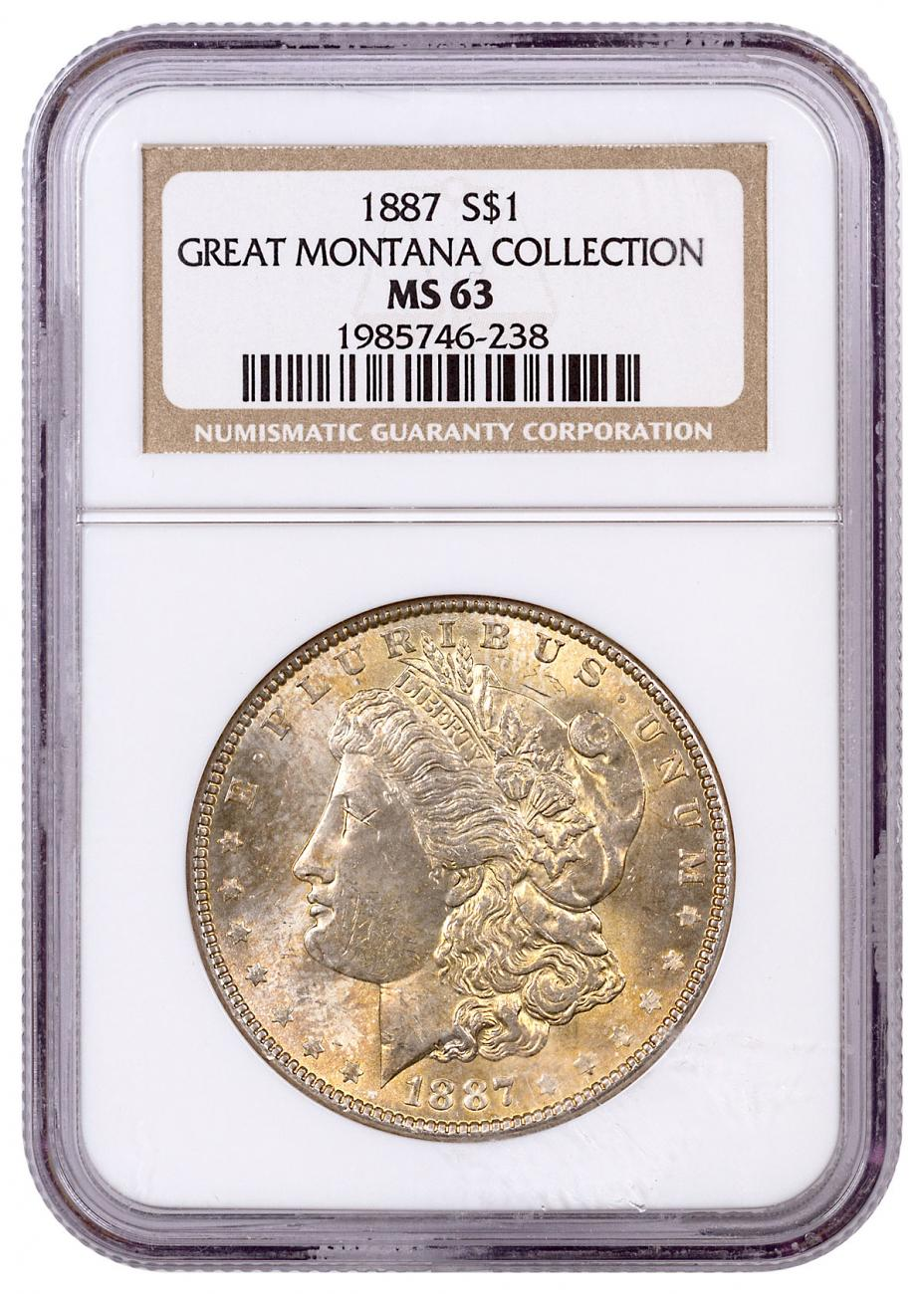1887 Morgan Silver Dollar From the Great Montana Collection NGC MS63 Toned CPCR 238