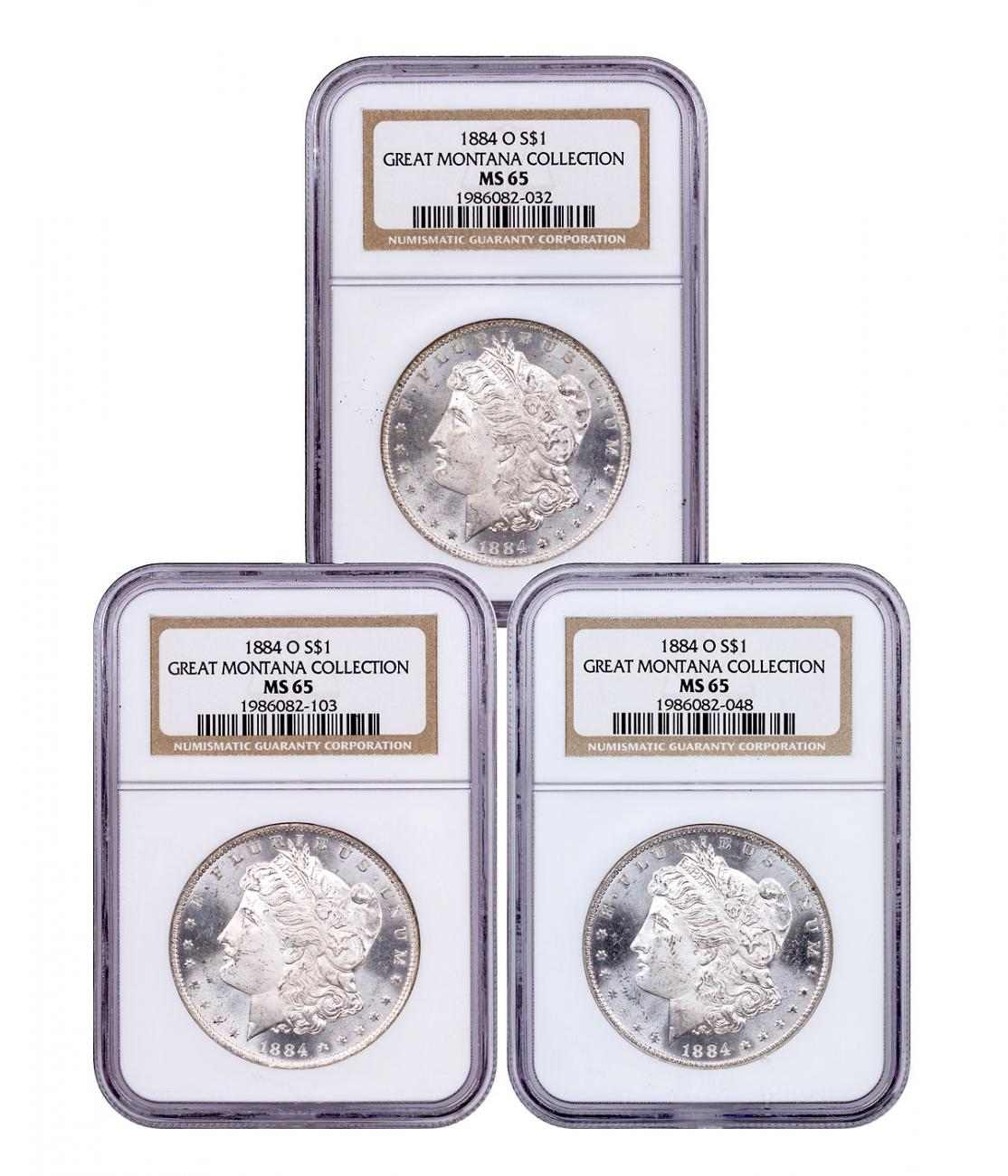 3-Coin Set - 1884-O Morgan Silver Dollar From the Great Montana Collection NGC MS65 Toned CPCR 2032