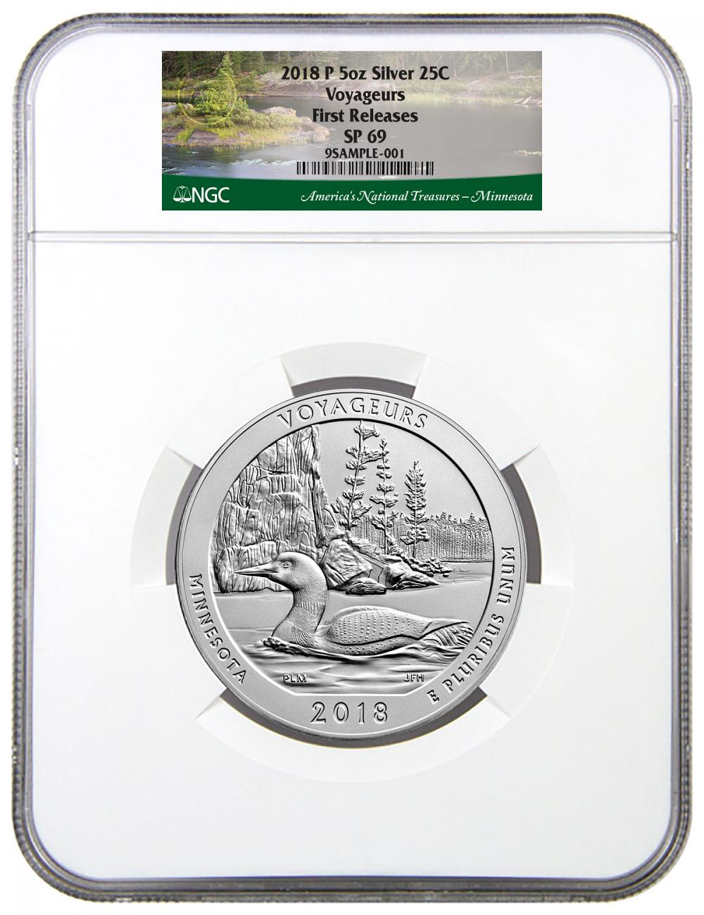 2018 Voyageurs 5 oz. Silver America the Beautiful Specimen Coin NGC SP69 FR