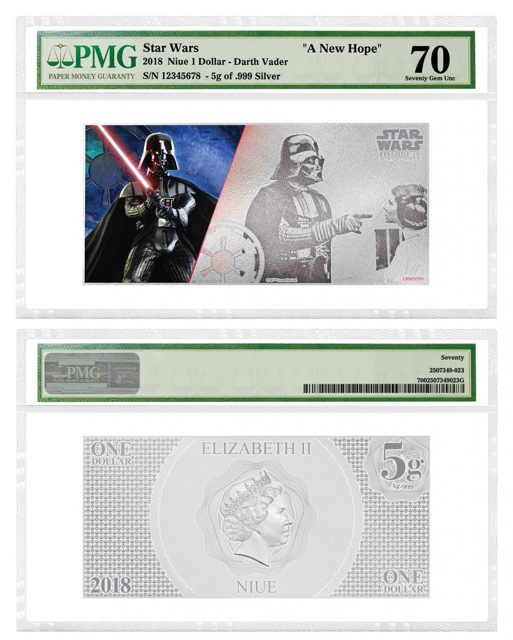 2018 Niue Star Wars: A New Hope - Darth Vader Foil Note 5 g Silver Colorized $1 Coin PMG Gem Unc 70
