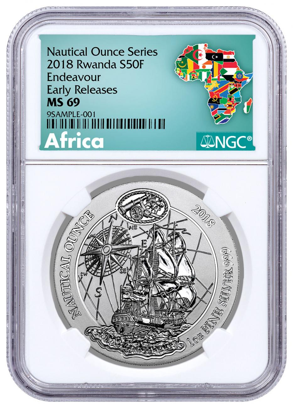 2018 Rwanda Nautical Ounces - HMS Endeavour 1 oz Silver RWF Franc50 Coin NGC MS69 ER Exclusive Africa Label