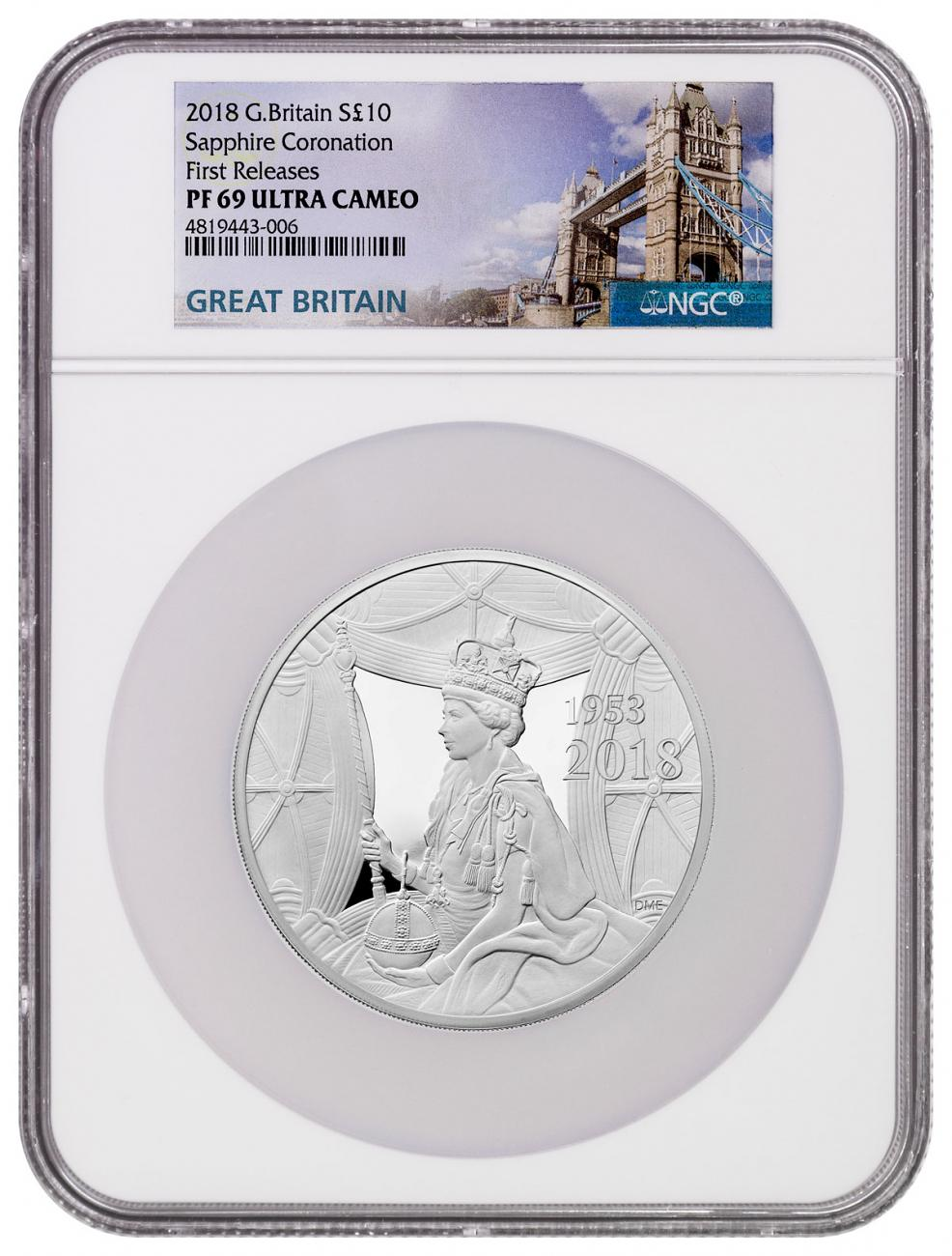 2018 Great Britain Sapphire Coronation 5 oz Silver Proof 10 Coin NGC PF69 UC FR Box with COA Tower Bridge Label