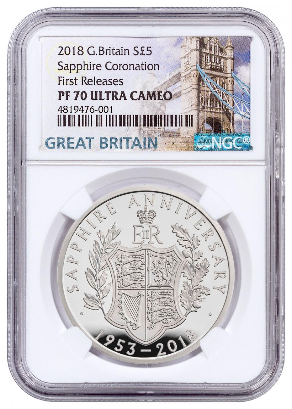 2018 Great Britain Sapphire Coronation Silver Proof £5 Coin NGC PF70 UC FR Box with COA Tower Bridge Label