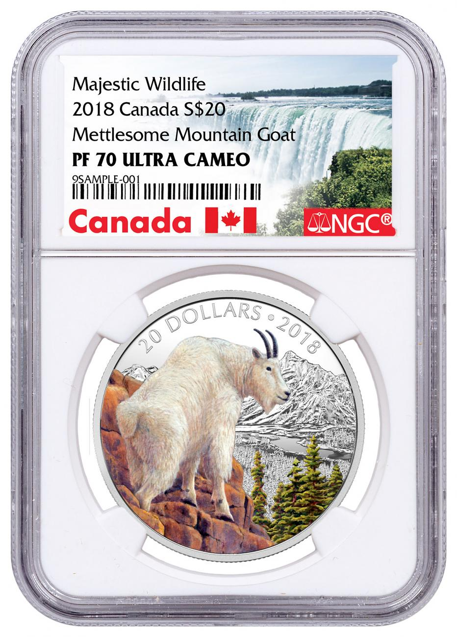 2018 Canada Majestic Wildlife - Mettlesome Mountain Goat 1 oz Silver Proof $20 Coin NGC PF70 UC Exclusive Canada Label