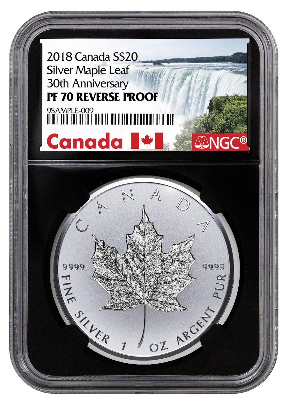 2018 Canada 1 oz Silver Maple Leaf - Incuse Reverse Proof $20 Coin NGC PF70 Black Core Holder Exclusive Canada Label