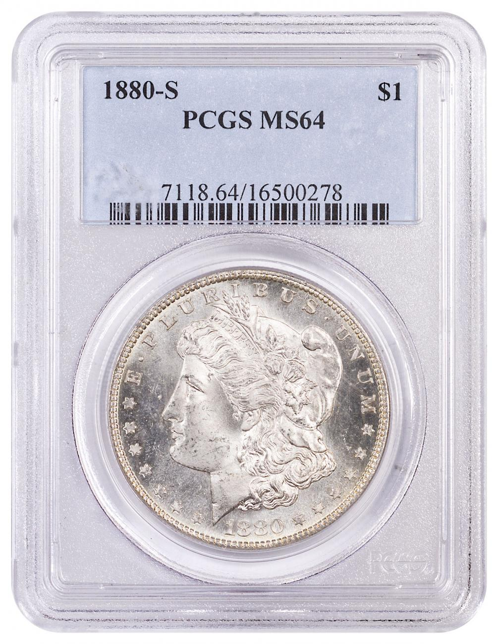 1880-S Morgan Silver Dollar PCGS MS64