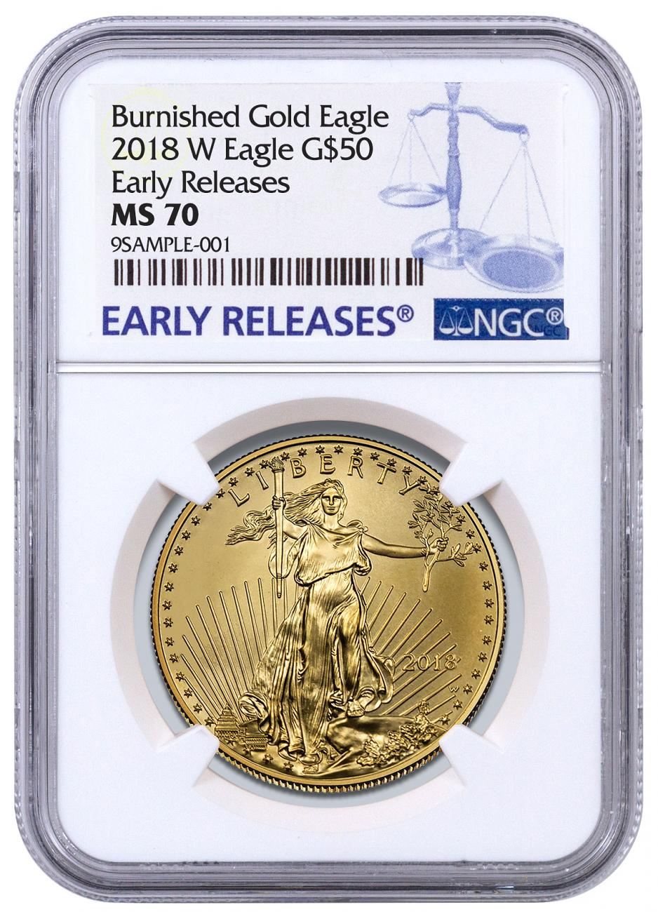 2018-W 1 oz Burnished Gold American Eagle $50 NGC MS70 ER