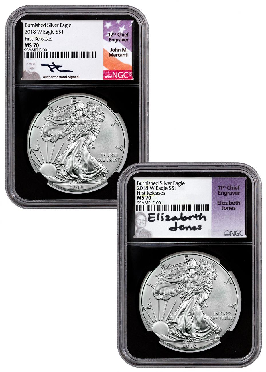 2-Coin Set - 2018-W Burnished American Silver Eagle NGC MS70 FR Black Core Holder Mercanti + Jones Signed Labels
