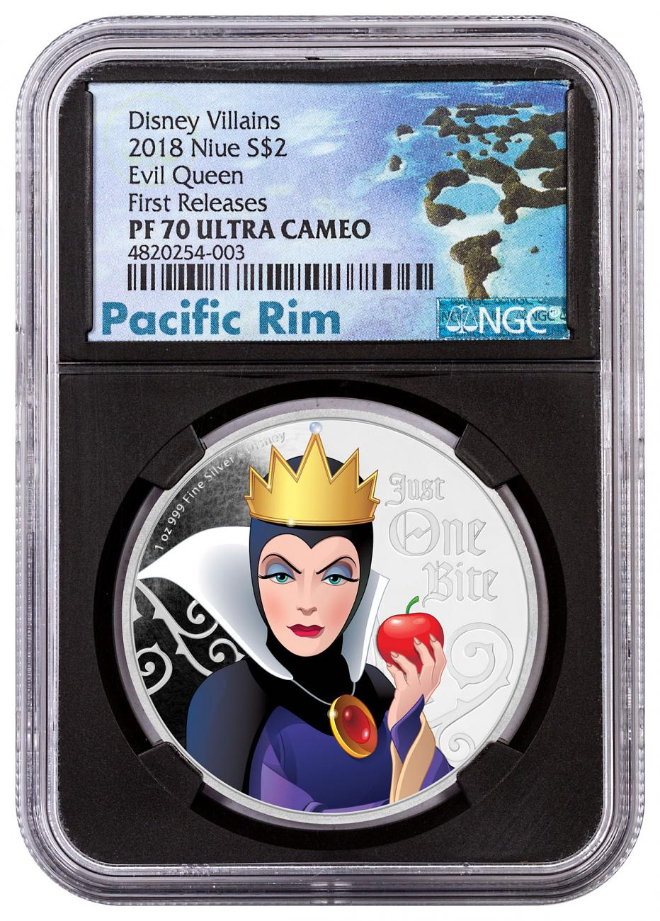 2018 Niue Disney Villains - Evil Queen 1 oz Silver Colorized Proof $2 Coin NGC PF70 UC FR Black Core Holder Exclusive Pacific Rim Label