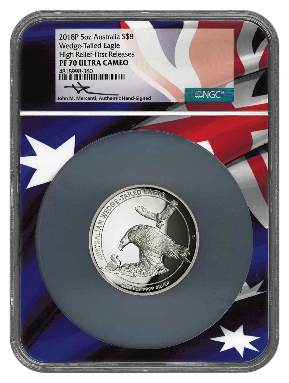 2018-P Australia 5 oz High Relief Silver Wedge-Tailed Eagle Proof $8 Coin NGC PF70 UC FR Flag Core Mercanti Signed Flag Label