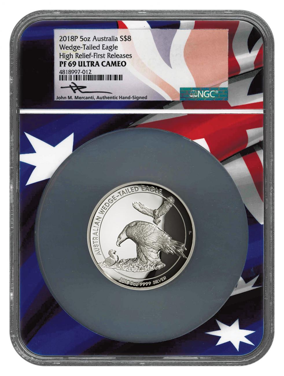 2018-P Australia 5 oz High Relief Silver Wedge-Tailed Eagle Proof $8 Coin NGC PF69 UC FR Flag Core Mercanti Signed Flag Label
