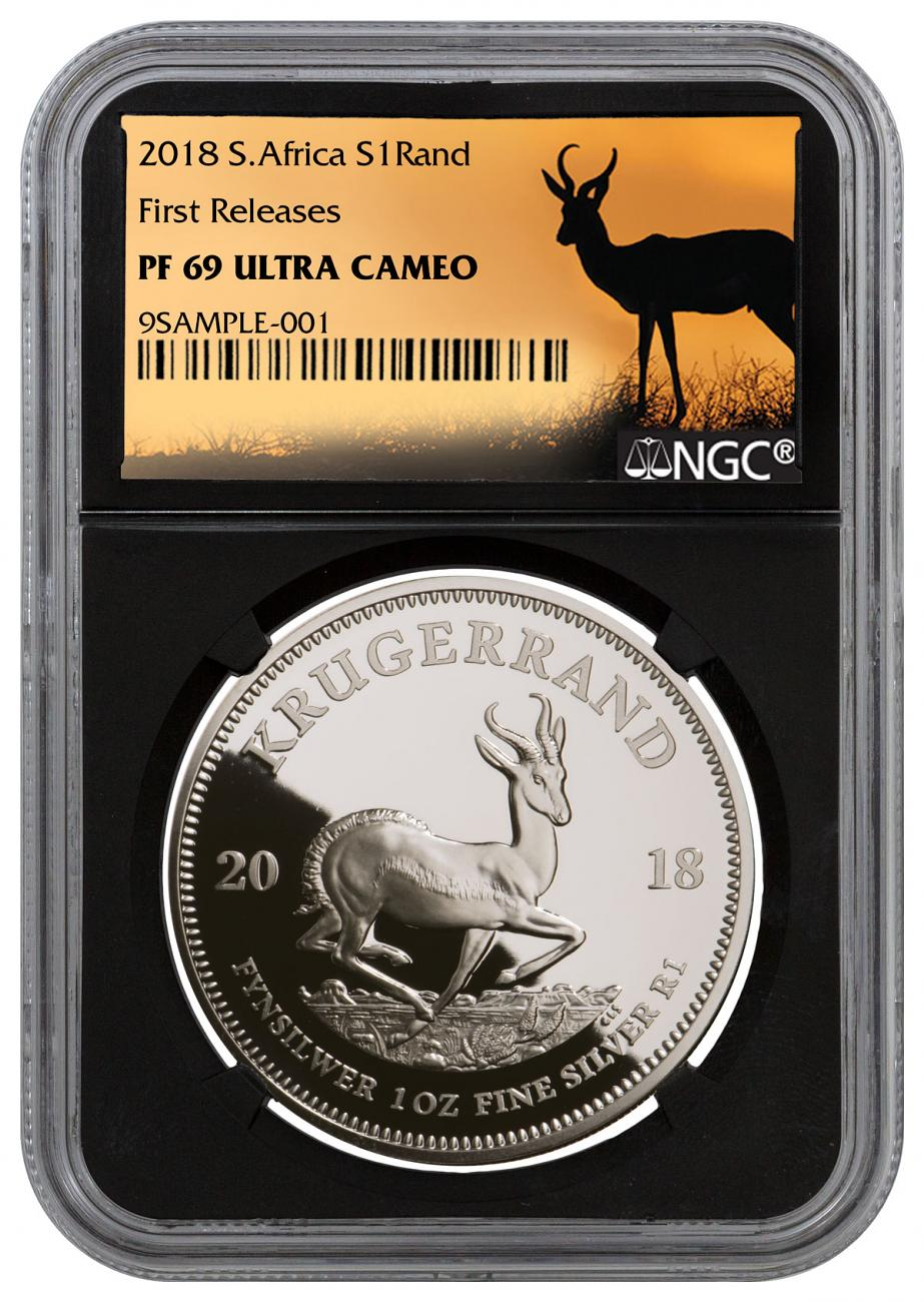 2018 South Africa 1 oz Silver Krugerrand Proof R1 Coin NGC PF69 UC FR Black Core Holder Exclusive Krugerrand Label