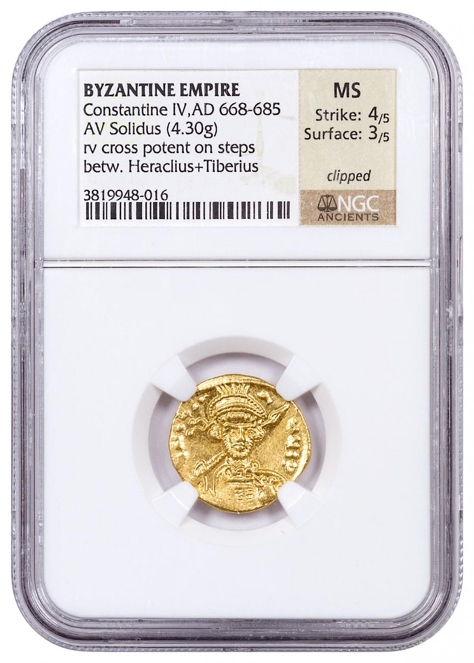AD 610-641 Byzantine Empire, Gold Solidus of Heraclius NGC MS