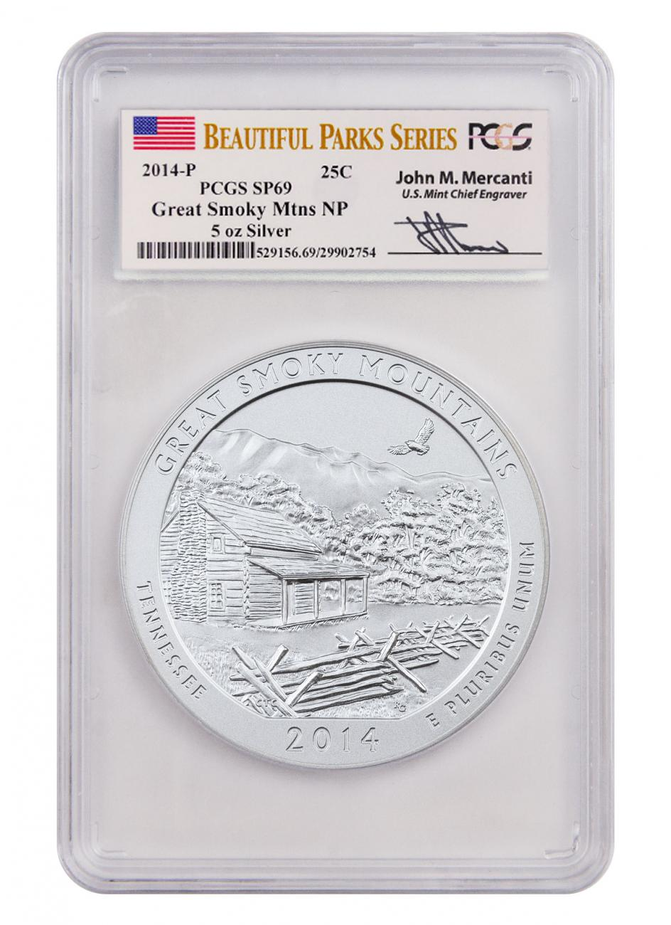 2014-P Great Smoky Mountains 5 oz. Silver America the Beautiful Specimen Coin PCGS SP69 (Mercanti Signed Park Series Label)