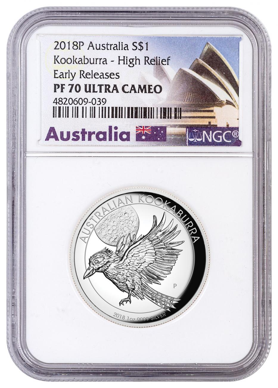 2018-P Australia 1 oz High Relief Silver Kookaburra Proof $1 Coin NGC PF70 UC ER Australia Label