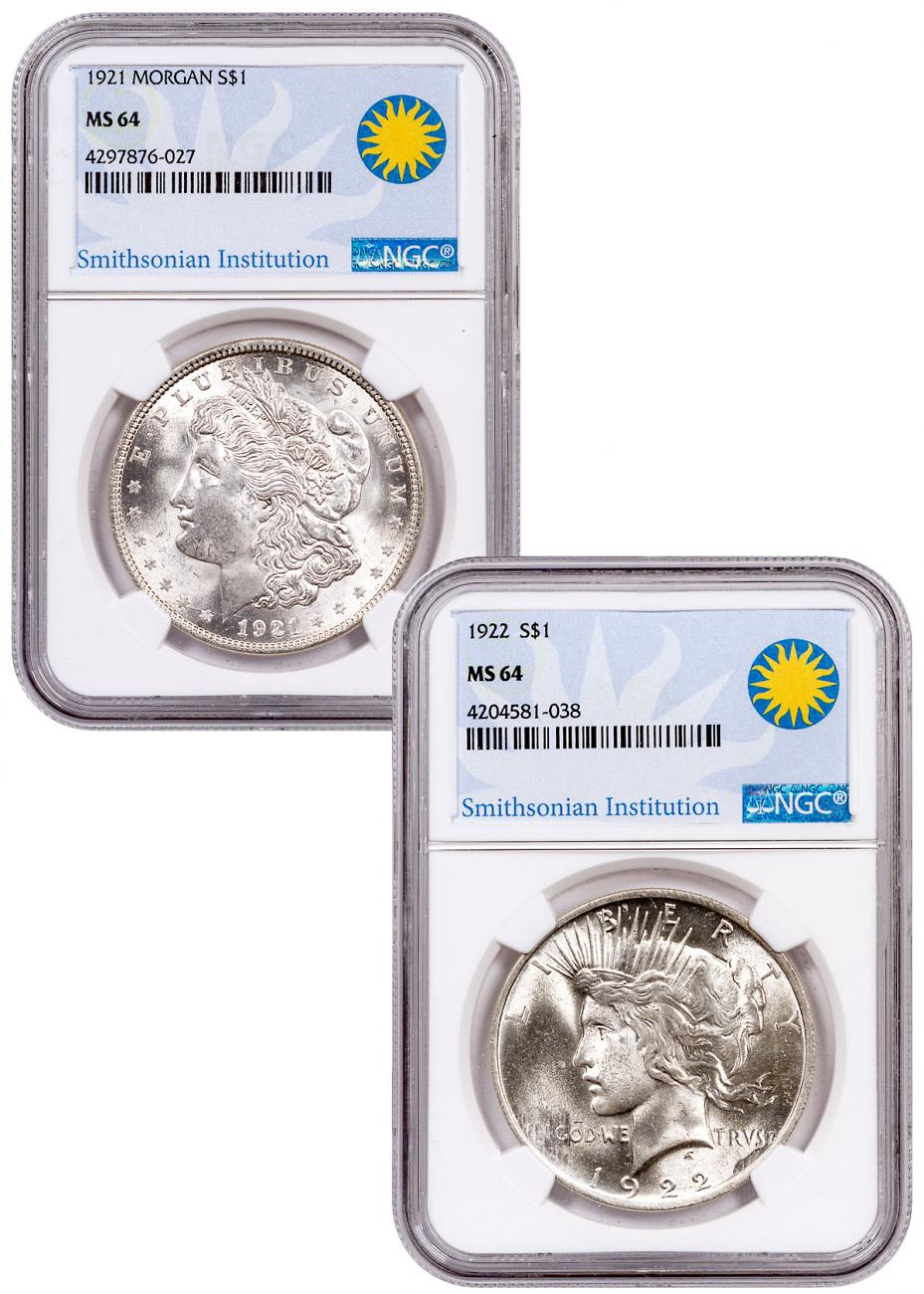 2-Coin 1921 Morgan + 1922 Peace Dollar Set - NGC MS64