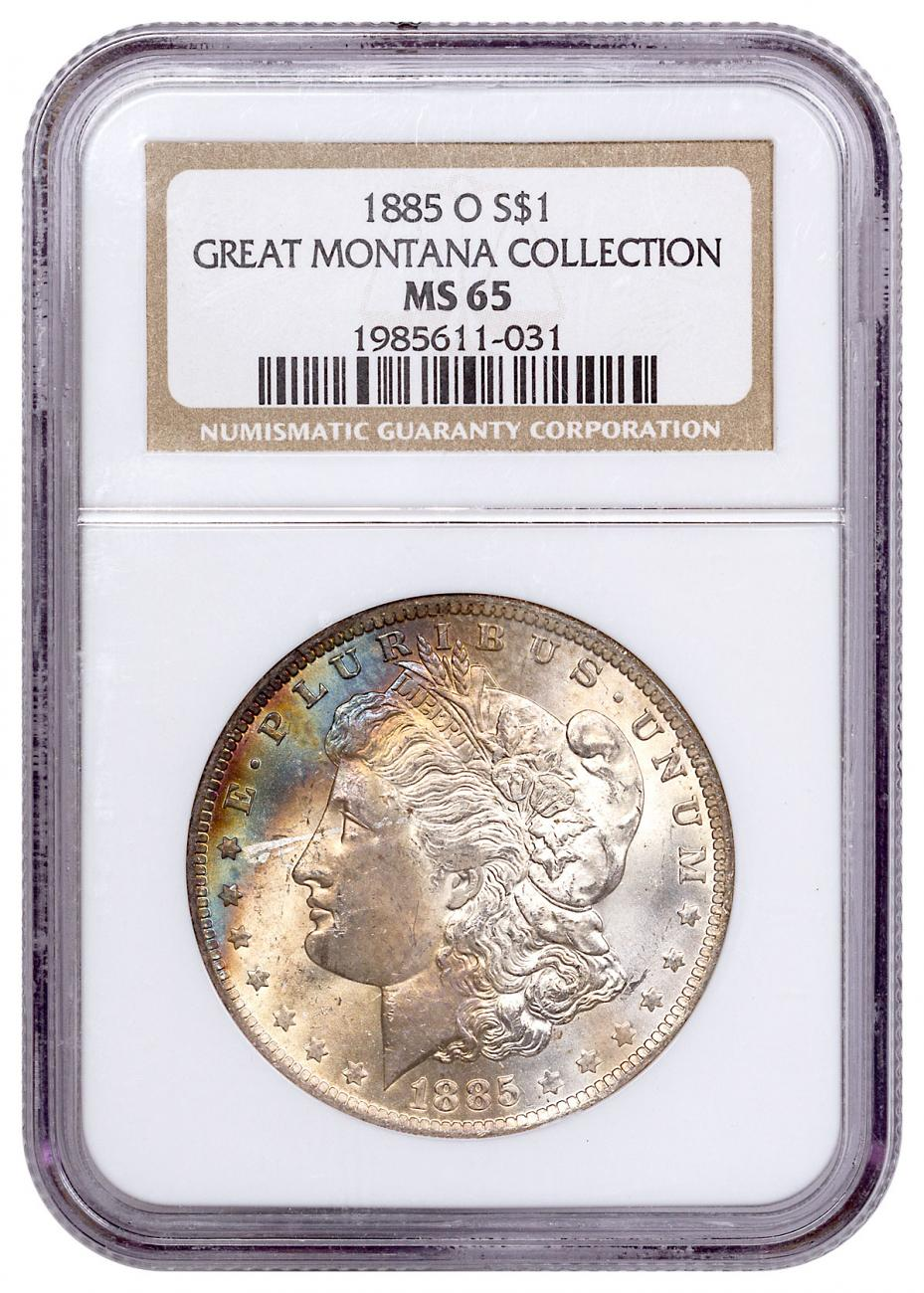 1885-O Morgan Silver Dollar From the Great Montana Collection NGC MS65 Toned CPCR 1031