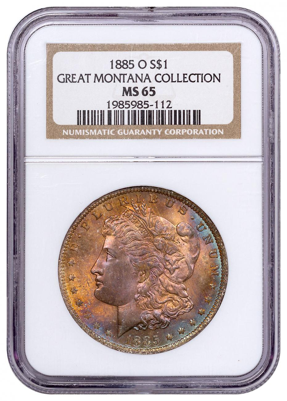1885-O Silver Morgan Dollar From the Great Montana Collection NGC MS65 Toned CPCR 5112