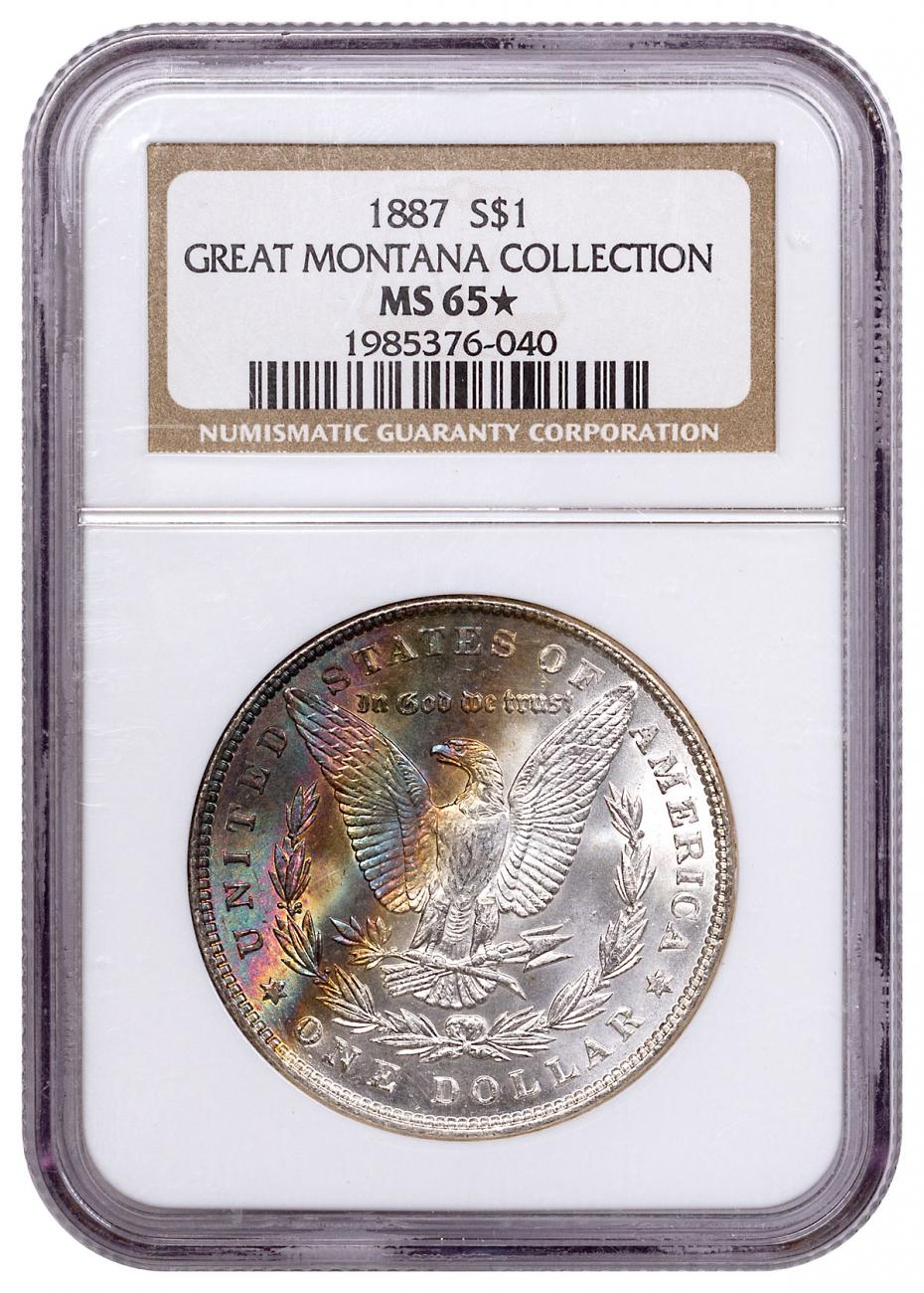 1887 Morgan Silver Dollar From the Great Montana Collection NGC MS65* Toned CPCR 6040