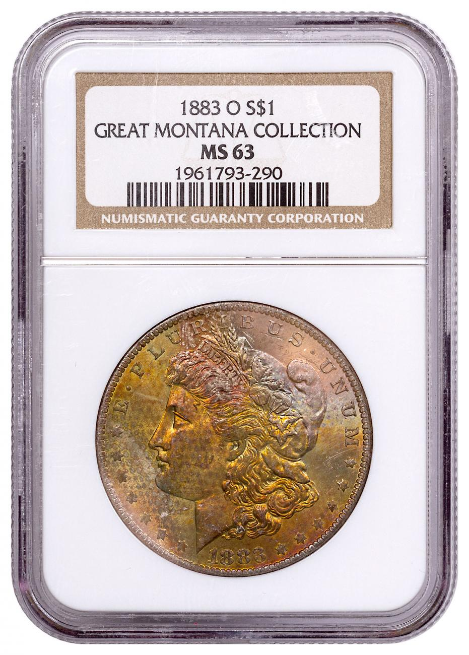 1883-O Morgan Silver Dollar From the Great Montana Collection NGC MS63 Toned CPCR 3290