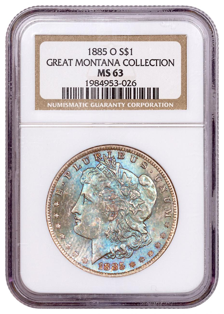 1885-O Morgan Silver Dollar From the Great Montana Collection NGC MS63 Toned CPCR 3026