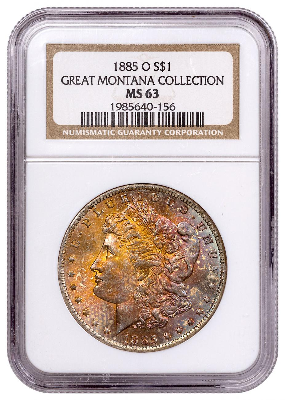 1885-O Morgan Silver Dollar From the Great Montana Collection NGC MS63 Toned CPCR 0156