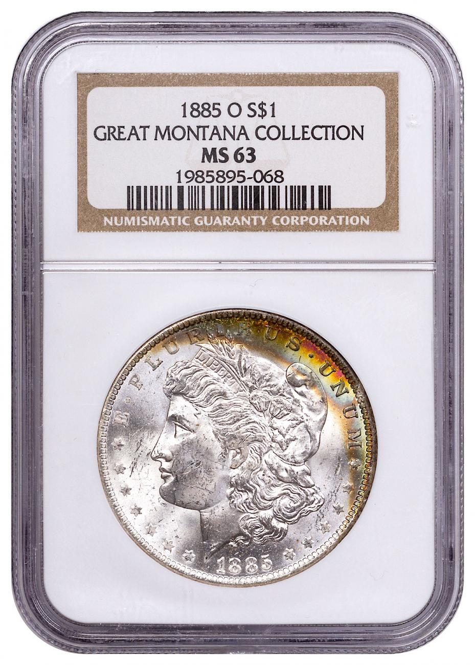1885-O Morgan Silver Dollar From the Great Montana Collection NGC MS63 Toned CPCR 5068